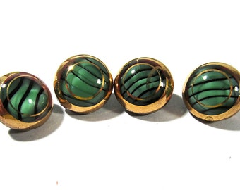 Black and Green Moonglow Glass Buttons West Germany VINTAGE Buttons Four (4) Buttons Stripes Gold Luster Jewelry Sewing Supplies (G99)