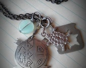 TERRAPIN -  layered antique silver, stencil cut turtle metalwork & seafoam glass, charm chain NECKLACE