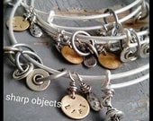 MOTIVATIONAL LIFT - expandable matte silver miniature barbell, weight plates & stamped tag bangle bracelet, layered charms