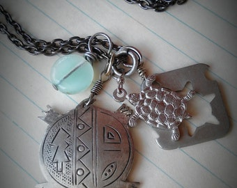 TERRAPIN -  layered antique silver, stencil cut turtle metalwork & seafoam glass, charm chain NECKLACE