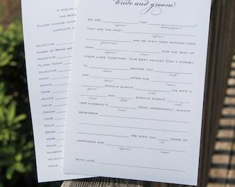 Wedding Mad Libs printable | Instant Download Mad libs wedding advice cards | DIY printable wedding madlibs | Wedding guest book alternative