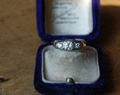 Vintage 14K European cut triple diamond engagement ring ∙ 1940s European cut diamond ring