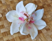 Pin up double white and pink orchid hair flower rockabilly vintage 40s 50s style wedding bride real touch very detailed