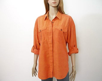 Vintage 1980s Orange Shirt Lizsport Long Blouse Shirt Top / Medium