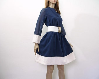 Vintage 1960s Mini Dress  Navy Blue Cream White Band Dress / Extra Small to Small