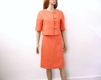 Vintage 1960s Coral Skirt Suit  Needs Work Linen Suit / Small to Medium
