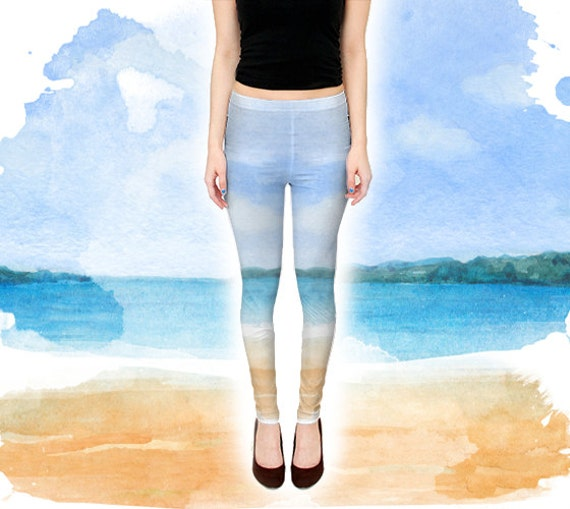 Life's A Beach Leggings Beach Bum Surf Girl Yoga By Exaltation