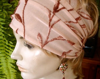 womens Headband extra Wide Headband Comfortable Chemo Alopecia cream rust