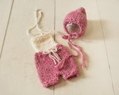 Girl's Knit Bonnet and Overall Set, Beautiful Photography Prop for Newborn Baby