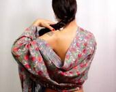 Wool Shawl Wrap, Grey Red Silk Shawl, Wool Scarf, Turquoise Blue Pashmina Shawl, Silk Embroidery Scarf, Pashmina Scarf, Bridesmaid Pashmina