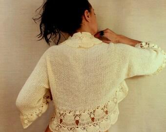 Ivory Bolero Bridal Shrug, Sweater Shrug, Wedding Bolero, Knit Shrug, Bolero Jacket, Crochet Cardigan 3/4 Sleeve Ruffle Shrug, Cover Up