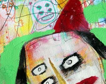 Outsider Art. 8x12 print, abstract portrait, modern art print, graffiti art, Lowbrow wall art, childlike painting. bright green wall decor