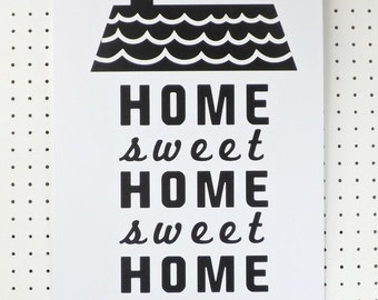 House Black White Print New Home Poster A3