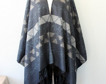 Autumn fall fashion Aztec poncho tribal cape Women clothings native outerwear Winter poncho Denim blue and gray grey
