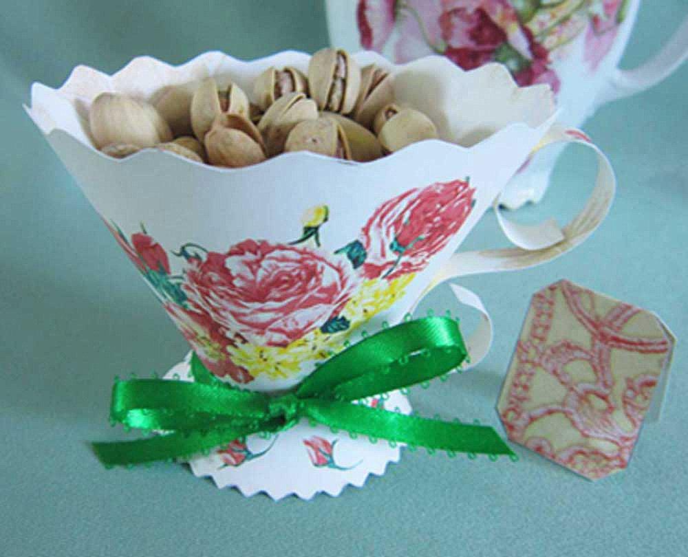 Teacup party favor victorian rose tea cup diy party for Teacup party favors