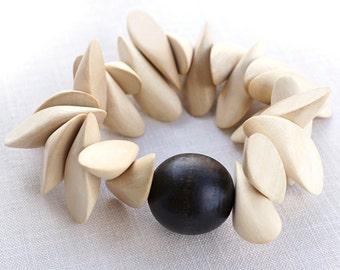 Boho Jewelry Big Chunky Wooden Bracelet Geometrical Dark Chocolate Brown Ball Bead Large Nude Natural Wood Pieces. Statement Bracelet.