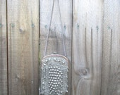 Vintage Flapper Style 1970 70's Bag Lurex Silver Crochet Boho Beaded Small Shoulder Bag 70s Evening Disco Purse Sack