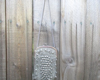 Vintage Flapper Style 1970 70's Bag Lurex Silver Crochet Boho Beaded Small Shoulder Bag 70s Evening Disco Purse Sack