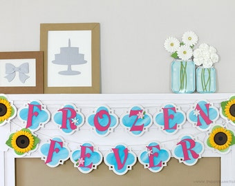 Snow Princess Birthday Banner  : Handcrafted Custom Phrase Banner | Frozen Fever Inspired Birthday Party Decoration | Snowflake | Sunflower