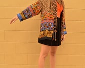 Vintage DESIGNER Kimono Style DUSTER Jacket with Braided Detail Gypsy Boho Festival Fashion