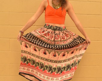 Vintage Indian Boho Maxi Hippie Skirt with Elastic Waist and Tie with Charm Bells