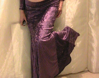 Bellydance trumpet skirt, mermaid skirt set in grape purple velvet with gold spots and diamond pattern- med