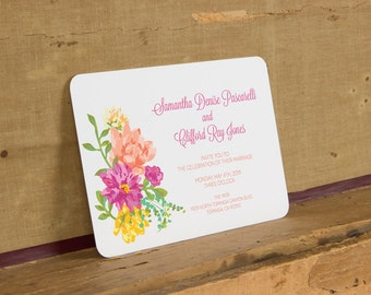 Bright Floral Wedding Invitation,Rustic Floral Wedding Invitations,Rustic Cottage Chic Wedding Invitation,Bright Botanical Wedding Invites