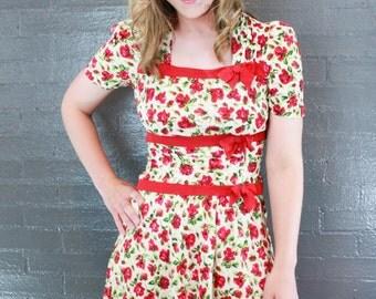 SALE Vintage 1940's Floral Dress Mini Dress S