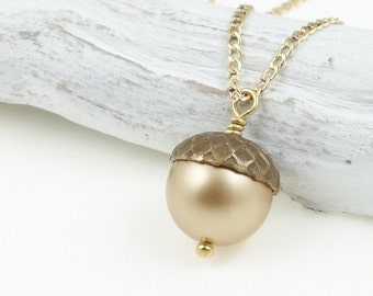 Acorn Necklace Woodland Jewelry Gold Filled Gold Necklace Pearl Necklace Harvest Acorn Jewelry Simple Pendant Fall Jewelry Autumn Necklace