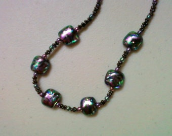 Metallic Green and Purple Dichroic Bead Necklace (0976)