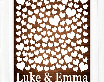 Rustic Wedding Guest Book Alternative - Wedding Guestbook Art Print - Unique Wedding Guest Book Poster-125 Guests Sign In-Bridal Shower Gift