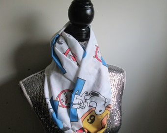 Vintage Snoopy & Woodchuck Alarm Clock Infinity Scarf