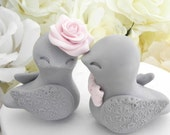 Reserved for Alicia ONLY Love Birds Wedding Cake Topper, Grey and Blush Pink, Bride and Groom Keepsake, Fully Customizable