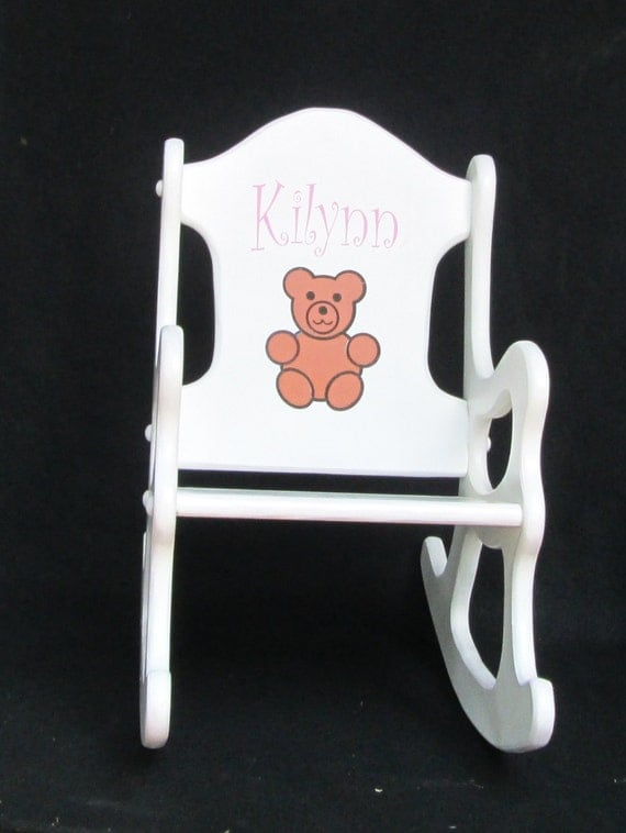 Wooden Rocking Chair WithTeddy Bear