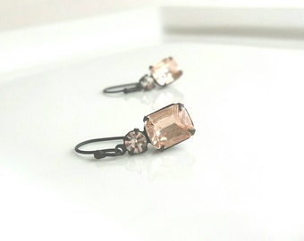 Vintage Drop Earrings - pale pink Rosaline glass rectangle w/ tiny clear crystal round prong set in matte black setting on matte black hook