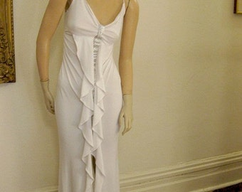 Oh Lala  Vintage White Poly Knit Glam Gown Party/Prom/Wedding/Disco Size Small, Free Shipping
