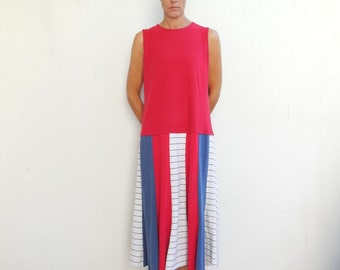 TShirt Dress Women's Tee Dress Summer Dress Red Blue Cream Soft Cotton Dress Fashion Upcycled T Shirt Dress Handmade Dress ohzie