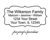 "Custom Return Address Stamp - Custom Family Stamp with a scalloped border.  Mounted with wooden handle or self inking. (20267) 3"" x  1 1/2"""