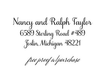 "Address Rubber Stamp featuring Formal Script, Return Address Stamp - Pick a Self-Inking or Wood Handle Address Stamp   (20402) 2 1/2"" x 1"""