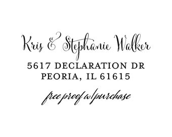 Return Address Stamp - Calligraphy Address Stamp, Custom Stamp  Self-inking or mounted with a handle return address (20417) 2 1/2 x 1