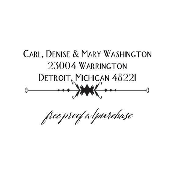 Return Address Stamp Featuring a Retro Font and Vintage Style.  Mounted with a Handle or Self-Inking Return Address Stamp  (20176) 2 1/2 x 1