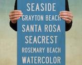 SEASIDE Wood Beach Sign. Beach House Art Print. Nautical Décor. Subway Sign. Florida Art. Cottage Décor. 4 Colors - 12 x 36.