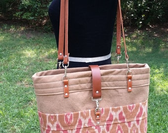canvas and leather tote, long leather straps, khaki,red,ikat, fall colors, diaper bag, tote with outside pockets, classic style tote