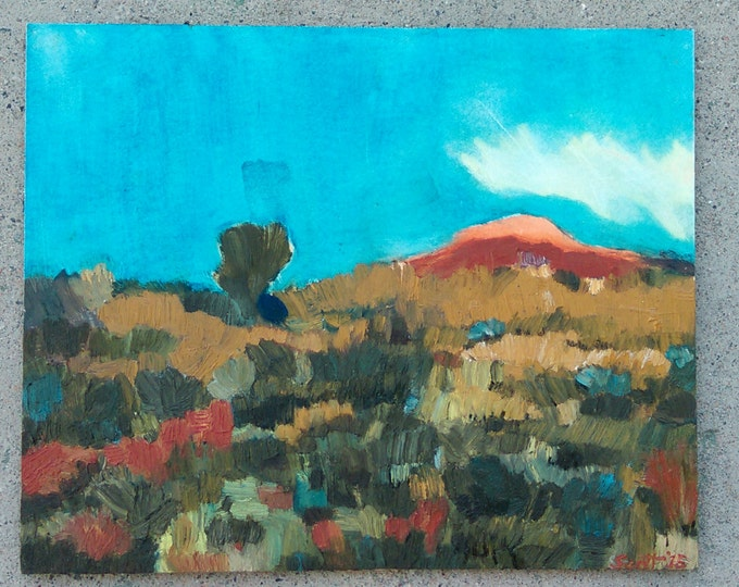 "Landscape Oil Painting, 8"" X 10"": Desert Brush and Red Rock"