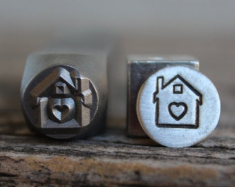 """House with Heart-""""Home"""" Metal Stamp-8mm Size-Steel Stamp-New Metal Design Stamps-by Metal Supply Chick"""