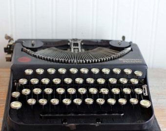 Antique Typewriter, 1920s Remington Portable Typewriter, Nostalgic Office Decor  Prop Set Design, Vintage Black Case, Raised Type Bars, USA