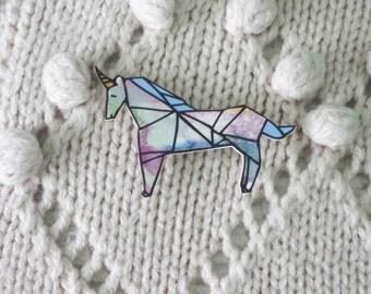 Origami magical unicorn brooch