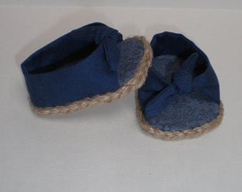 NAVY BLUE Open Toe, Tie On Espadrilles 18 inch doll clothes