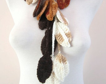 Woman Accessories, Crochet Leaf Lariat Scarf, Brown Cream,Long Necklace, Crocheted Scarflette, Variegated