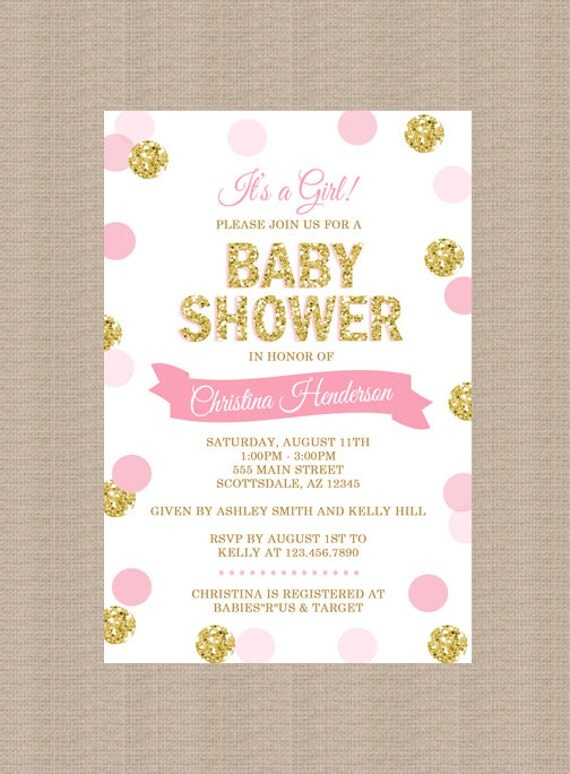 pink and gold baby shower invitation gold glitter polka dots baby